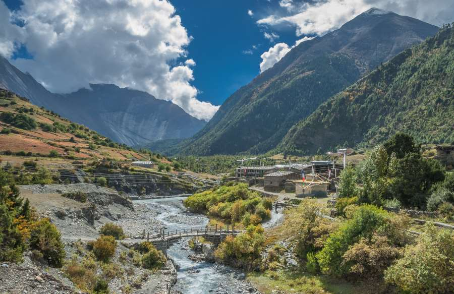 shutterstock_743616796_Pisang village entrance (from Humde village direction), Around Annapurna trek, Manang district, Gandaki zone, Nepal Himalayas, Nepal_900x600
