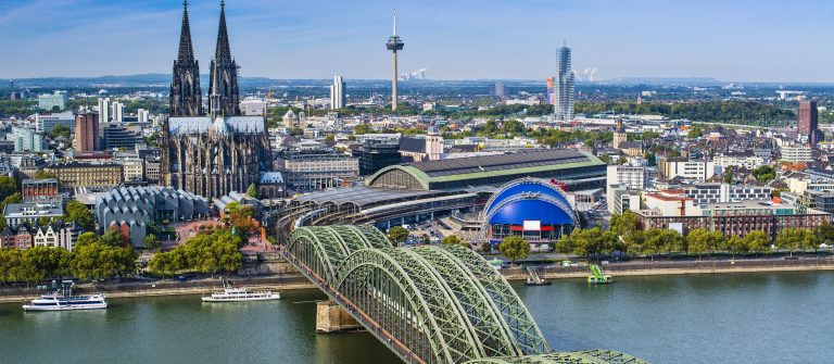 Cologne, Germany aerial view over the Rhine River_shutterstock_160118057