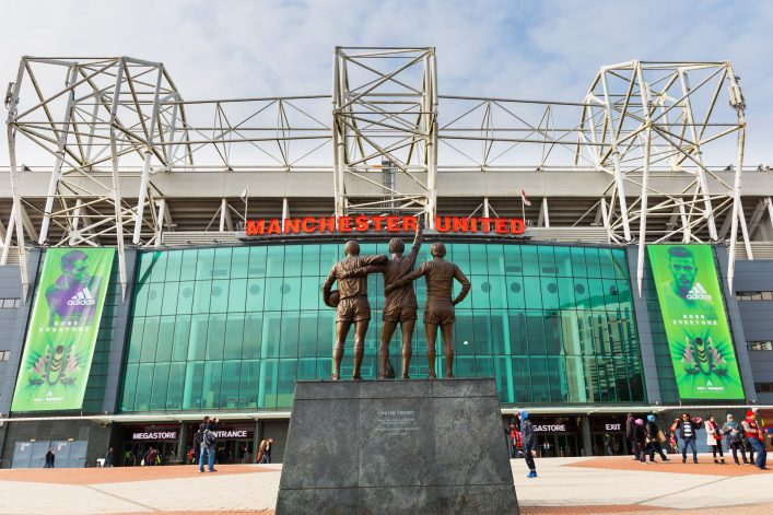 Old Trafford Stadion in Manchester – Eingang.