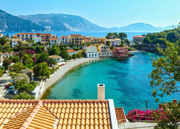 Summer view of Assos village (Greece,  Kefalonia).