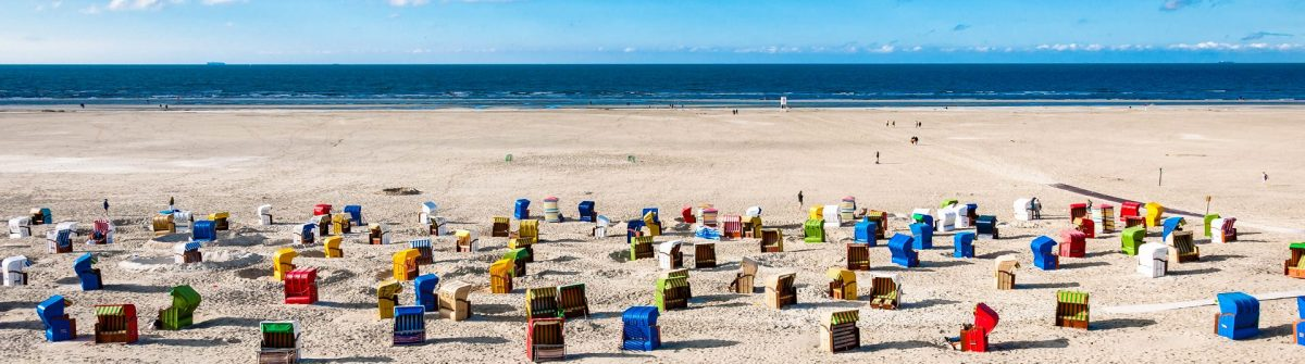 Beach chairs at the island of Juist in Germany