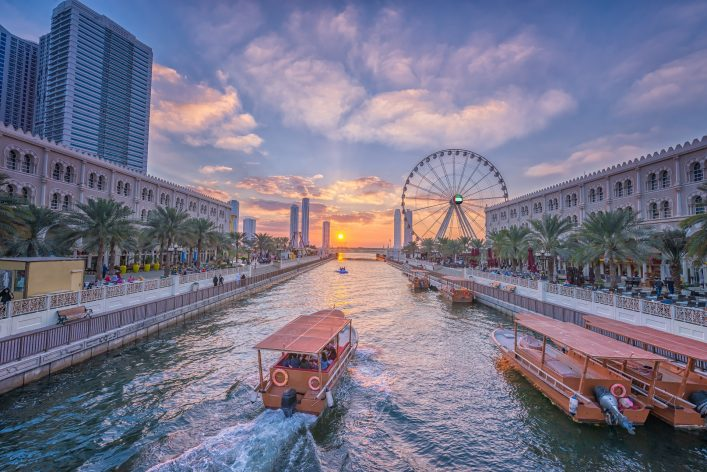 Eye of the Emirates – Ferris wheel in Al Qasba – Shajah at sunset