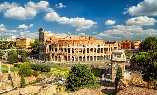 Panoramic view the Colosseum (Coliseum) in Rome, Italy