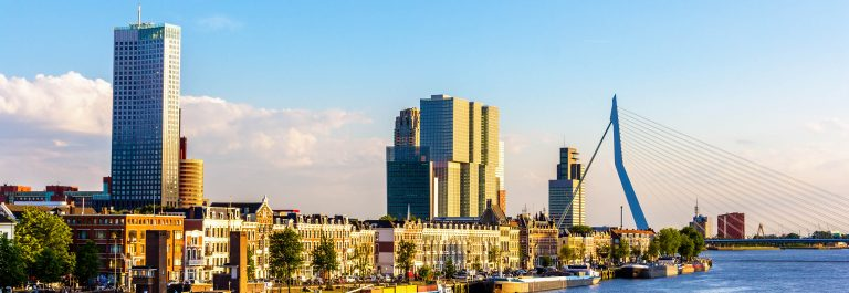 Buildings on the embankment of Rotterdam – the Netherlands
