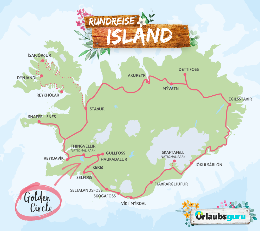 Island Rundreise Route