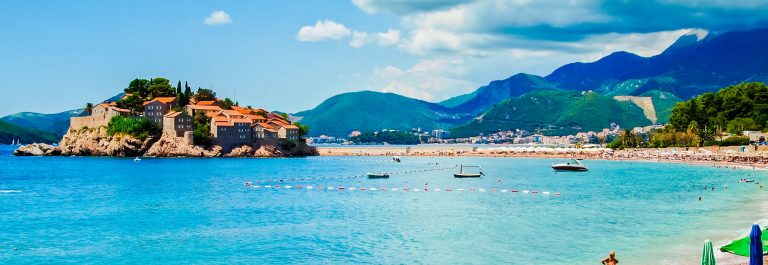Sveti Stefan Island City, sea, mounitai and part of beach
