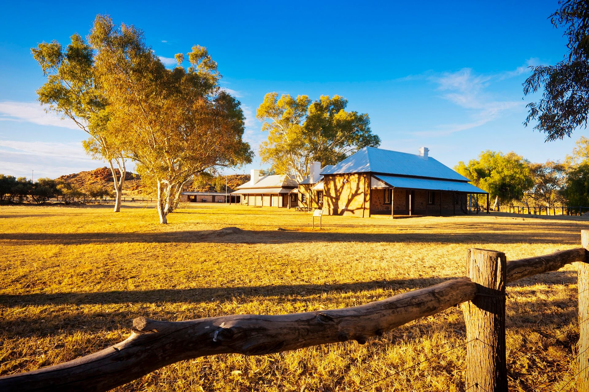 Die Telegraph Station in Alice Springs im Outback von Australien.
