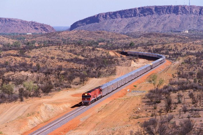 Der Zug The Ghan in Australien