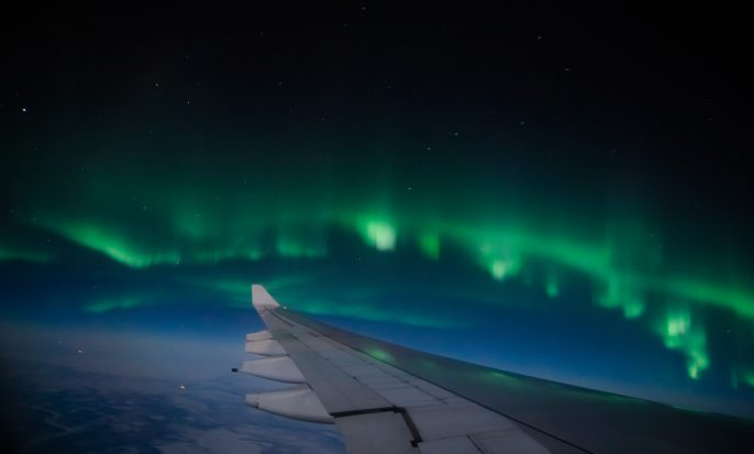 Northern lights (Aurora Borealis) from the airplane