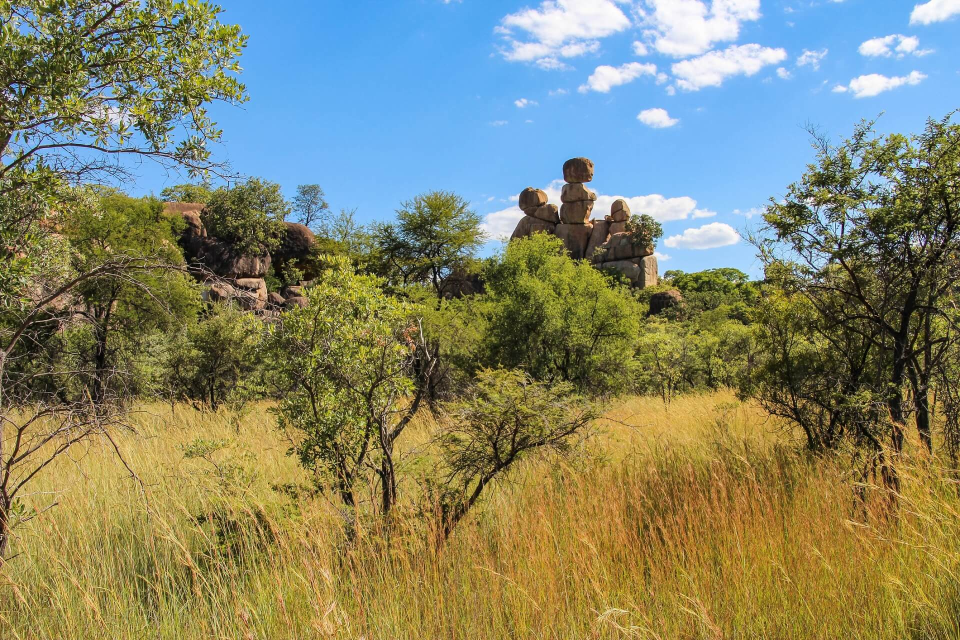 Steppe und Felsformationen im Matobo Nationalpark in Simbabwe.