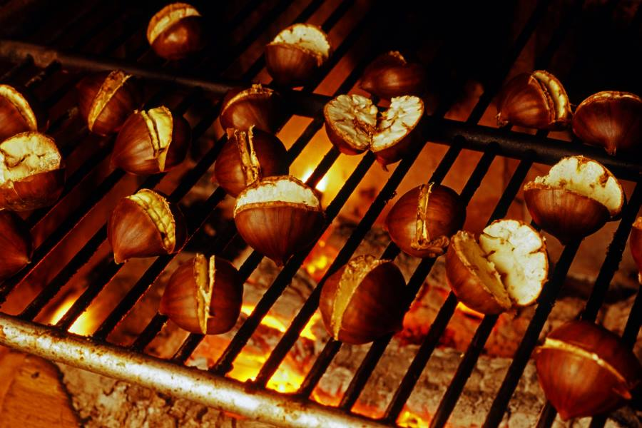 roasted chestnuts over embers
