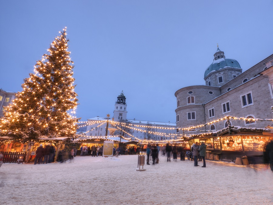 Outdoor Christmas Market in Europe