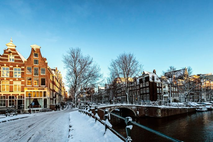 Winter in Amsterdam; the streets are covered with snow