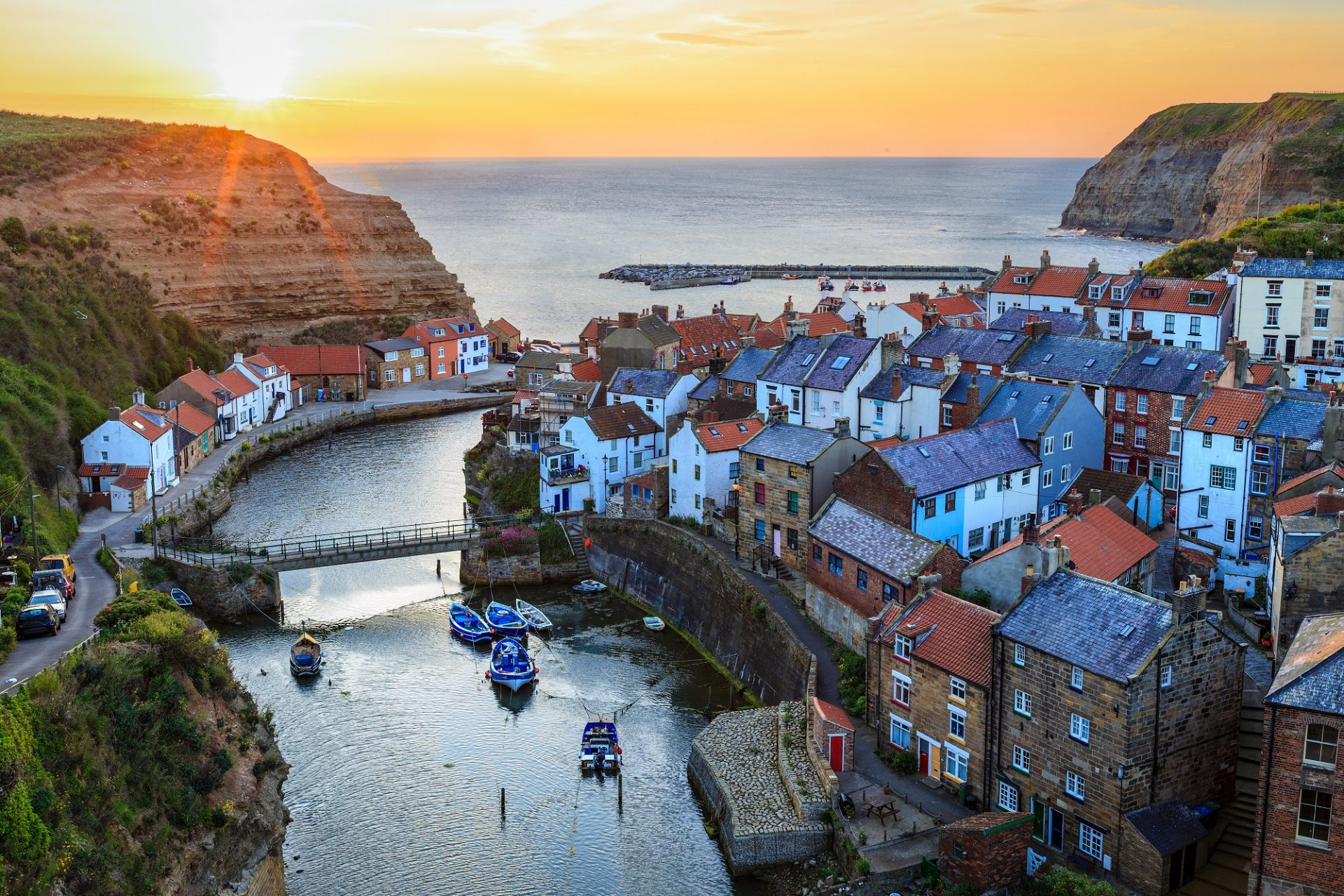 Sonnenuntergang in Slaithes in England