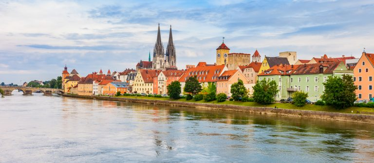 Regensburg Cityscape and the Danube River in Germany