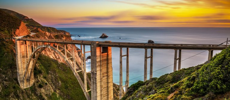 Bixby Bridge and Pacific Coast Highway at sunset