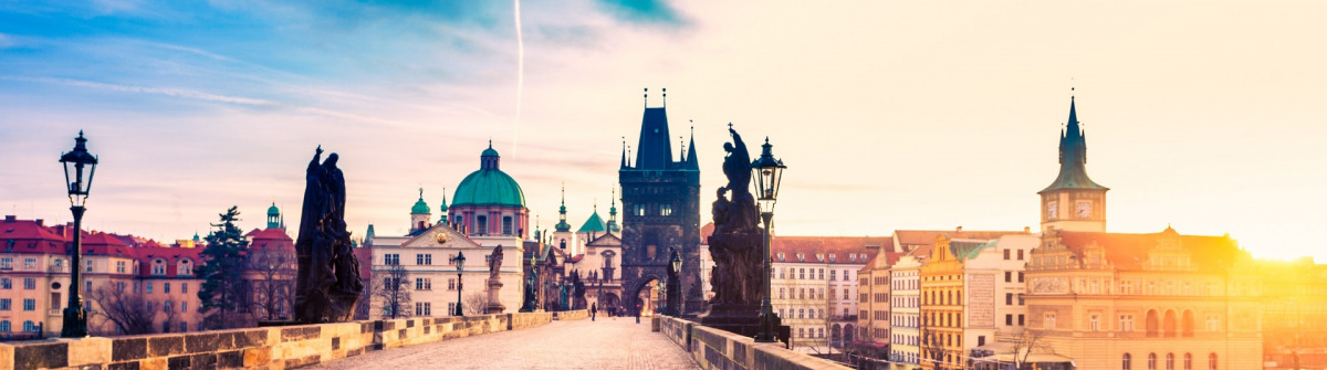 Charles Bridge in Prague at Sunrise