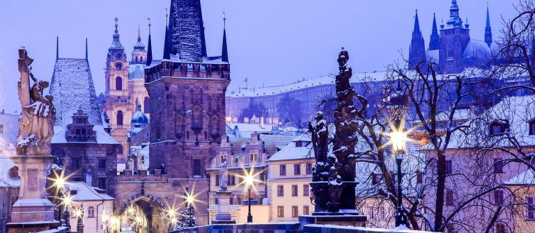 Czech Republic – Prague –  Charles Bridge in winter morning