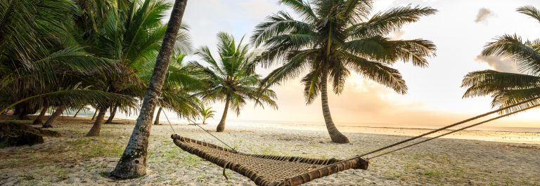 Hammock between palms on sandy beach