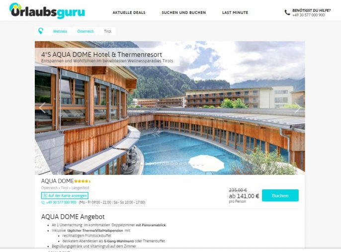 Aqua Dome Therme 2 Tage Inkl 4 5 Sterne Hotel Mit Extras Fur 141