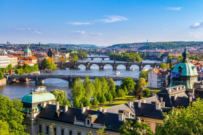 View of the Vltava River and the bridges, Prague