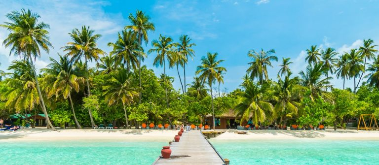 Beautiful-tropical-Maldives-island-with-beach-sea-and-coconut-palm-tree-on-blue-sky_Malediven_shutterstock_444622738