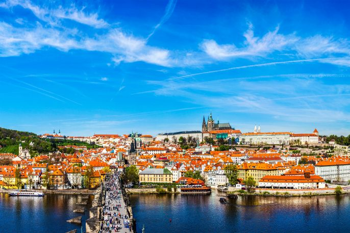 Charles bridge and Prague castle from Old town