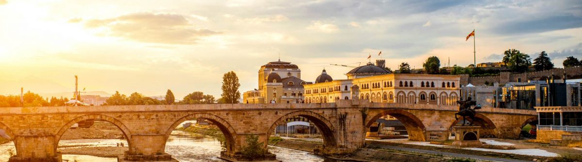 View on Stone bridge from Oko bridge in Skopje on sunset
