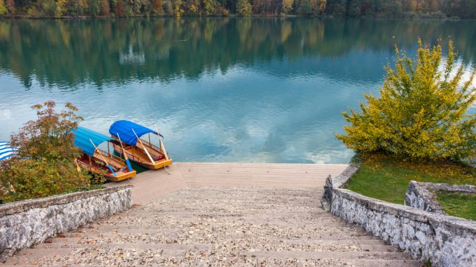 Slovenia-Lake-Bled.-Bled-Island-stairs-and-boats_shutterstock_1548765995-3